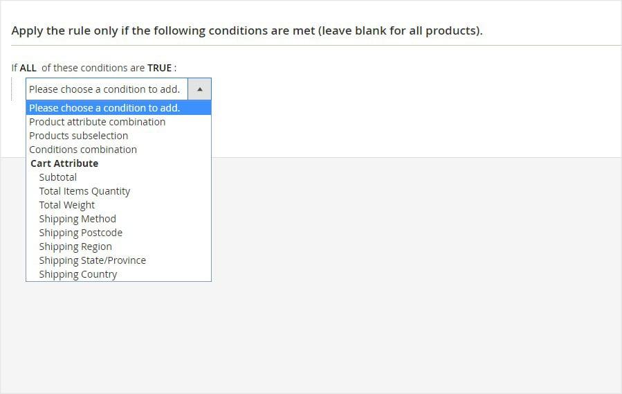 Set order attributes condition