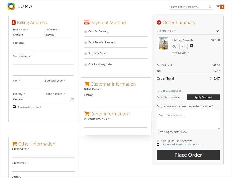 Order attributes Display at Checkout Page