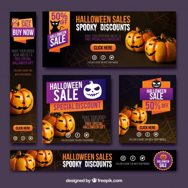 Pack of halloween sale banners