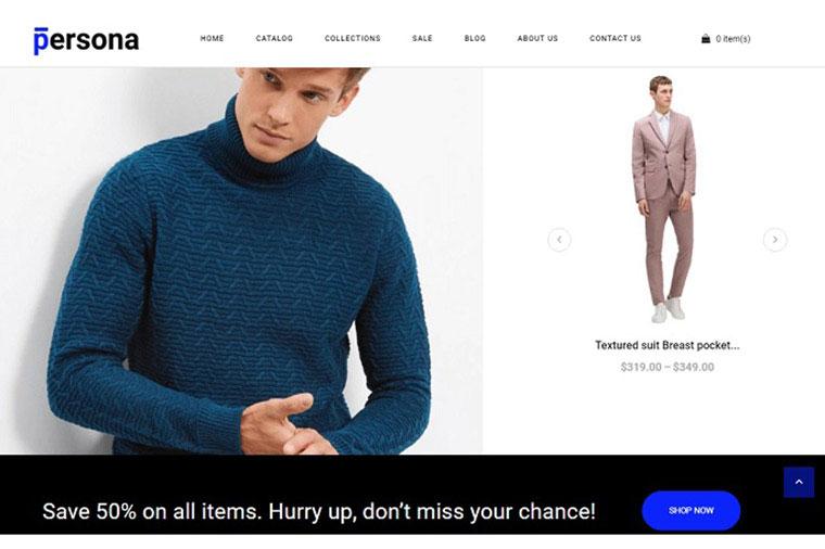 Persona - Stylish Men Clothes Store Shopify Theme.