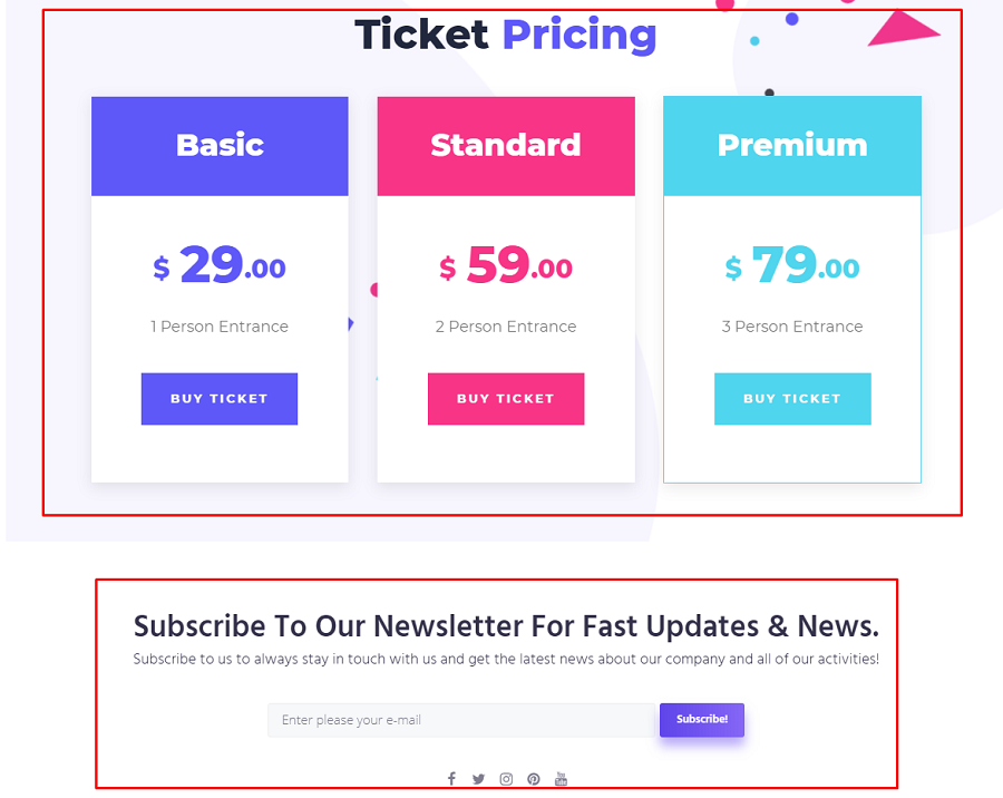 pricing table and subscription form