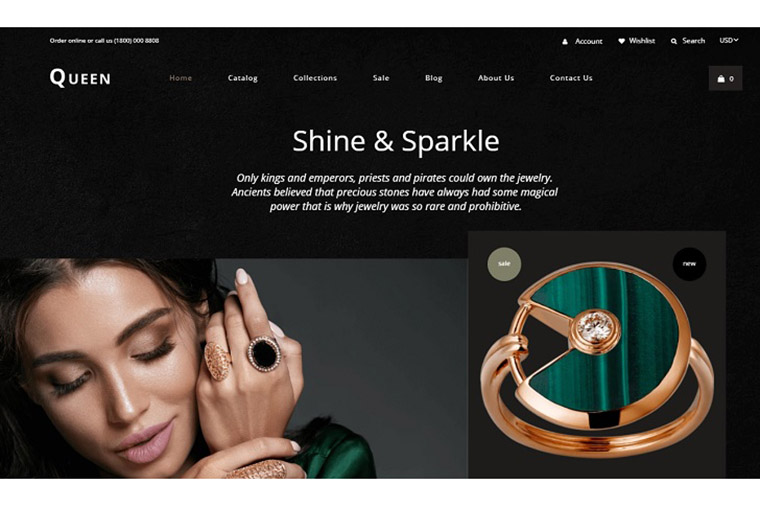 Queen - Jewelry Multipage Elegant Shopify Theme.