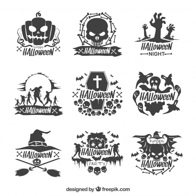 Set of decorative hand drawn halloween stickers