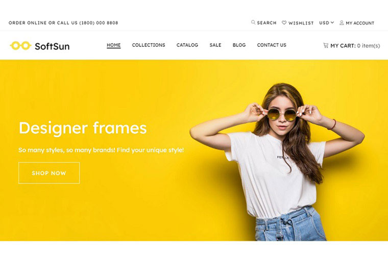 Sunglasses Store Template Shopify Theme.
