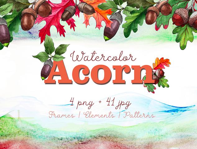 Autumn Acorn Leaf and Plant PNG Watercolor Set Illustration