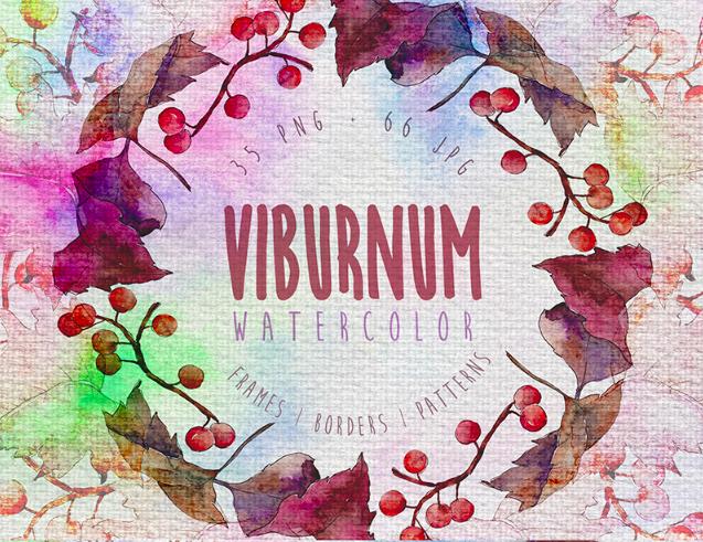 Autumn Viburnum Leaf PNG Watercolor Set Illustration