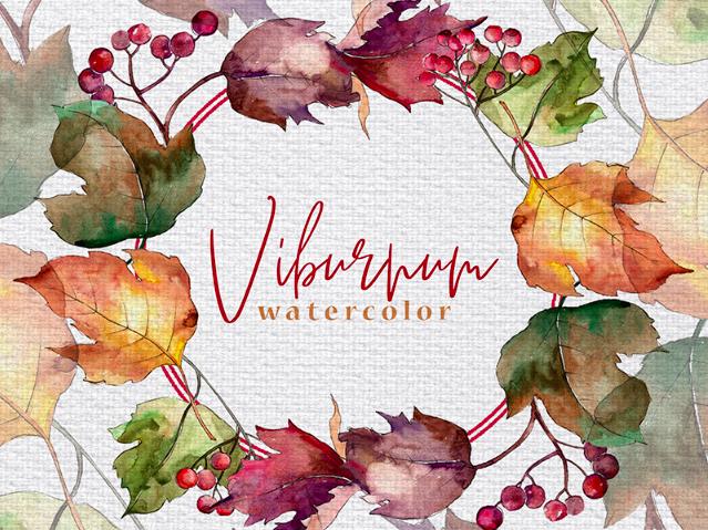 Autumn Viburnum Leaves PNG Watercolor Set Illustration