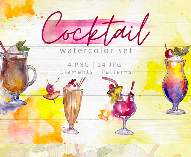 Beverages Collection PNG Watercolor Set Illustration