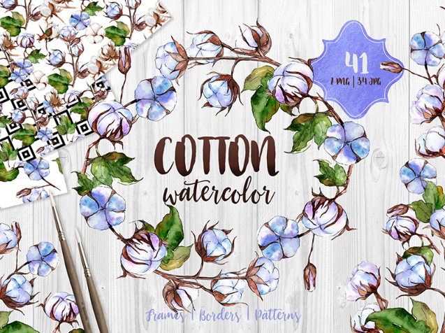 Blue and White Cotton PNG Watercolor Set Illustration