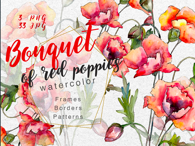 Bouquet of Red Poppies PNG Watercolor Set Illustration