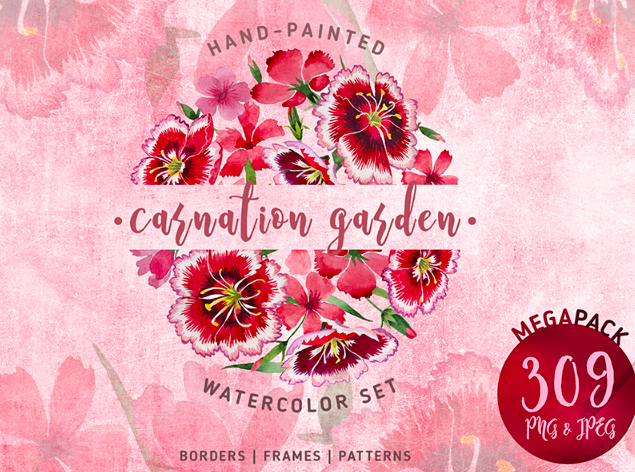 Carnation Garden PNG Watercolor Set Illustration