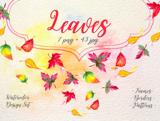Cool Autumn Leaves PNG Watercolor Set Illustration