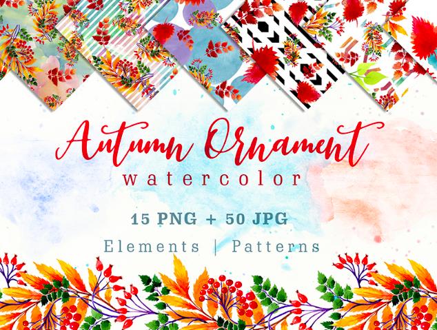 Cool Autumn Ornament PNG Watercolor Set Illustration