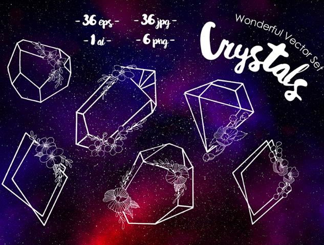 Crystals Wonderful Vector Set Illustration
