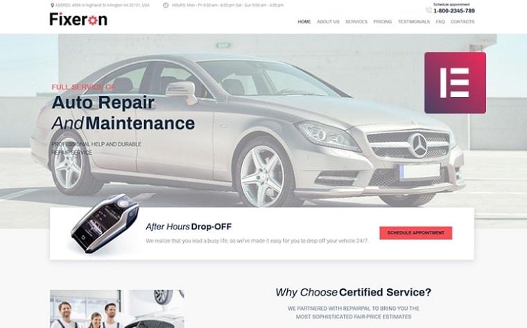 Fixeron - Car Repair Elementor WordPress Theme.