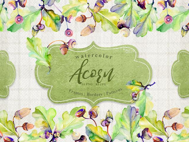 Forest Acorn PNG Watercolor Creative Set Illustration