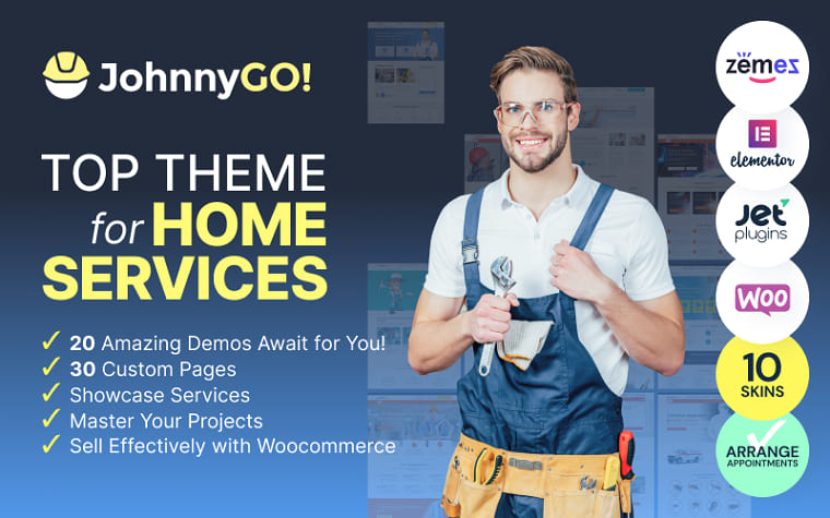 JohnnyGo - Multipurpose Home Services WordPress Theme.