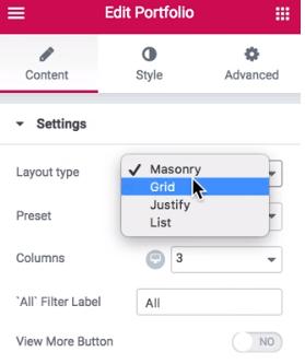 layout type grid
