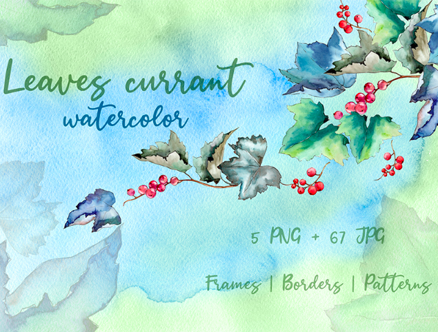 Leaves Currant PNG Watercolor Creative Set Illustration