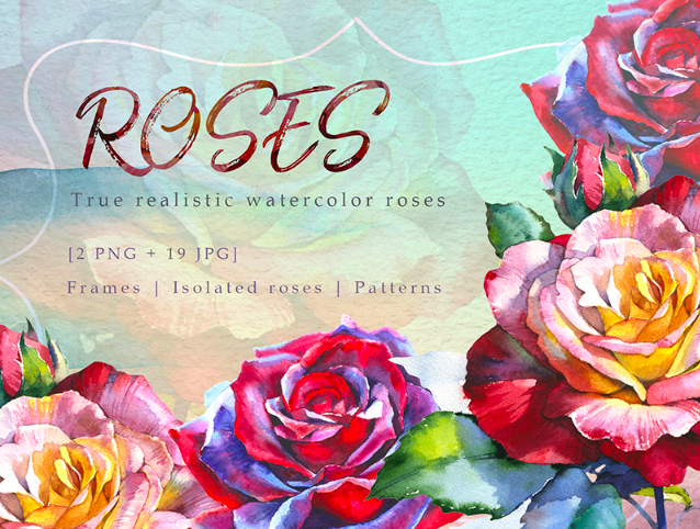 Realistic Watercolor Red Roses PNG Set Illustration