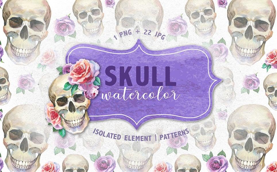 Cool Skull Print PNG Watercolor Creative Set Illustration
