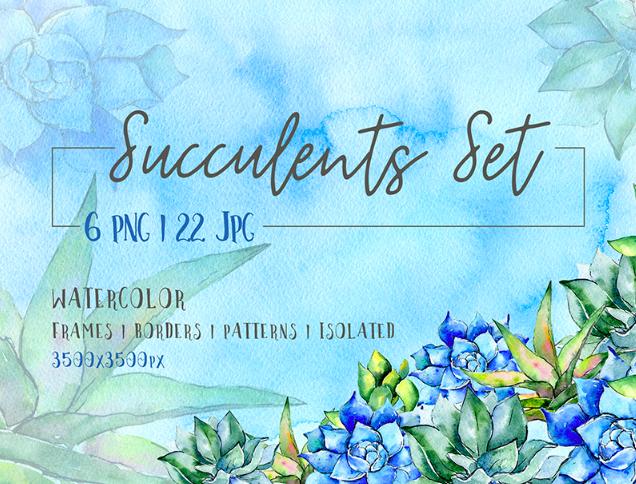 Succulent Blue Tropical Plant PNG Set Illustration
