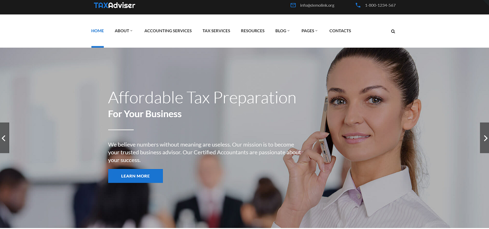 TaxAdviser - Accounting and Tax Services Company Responsive Multipage Website Template