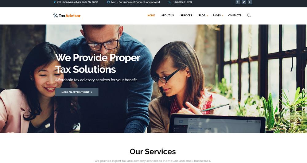 TaxAdvisor - Financial Advisor Multipage Website Template