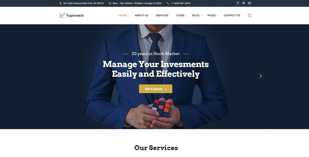TopInvest - Investment Company Responsive Multipage Website Template