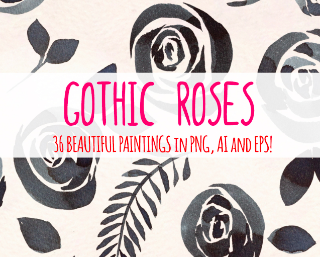 36 Watercolor Gothic Roses Graphics Illustration