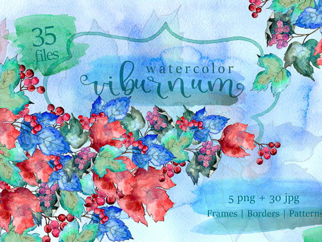 Watercolor Viburnum PNG Leaves Set Illustration