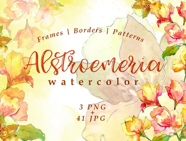 Watercolor Yellow Alstroemeria Flower PNG Set Illustration