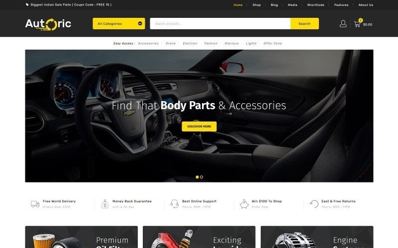 Autoric - Auto Spare Parts WooCommerce Theme.
