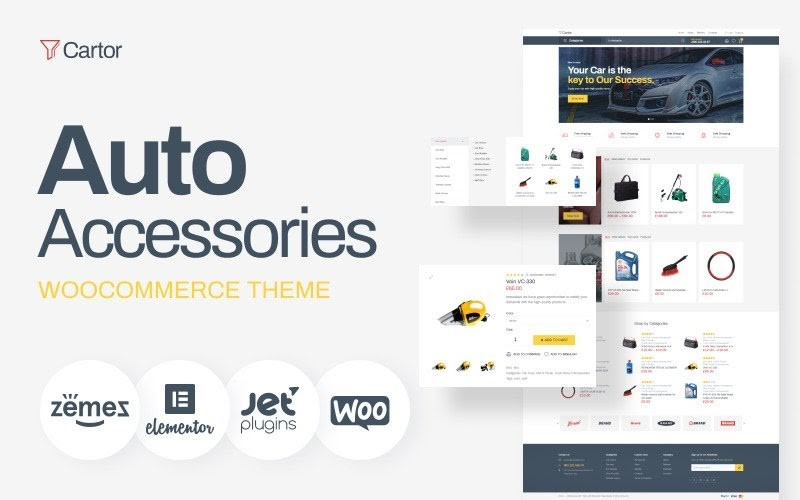 Cartor - Auto Accessories ECommerce Classic Elementor WooCommerce Theme.