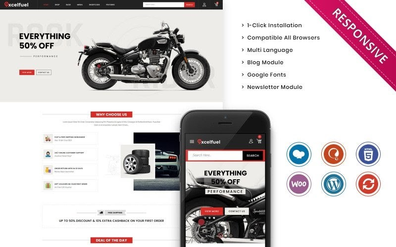 Excelfuel - The Automobile Store Responsive WooCommerce Theme.