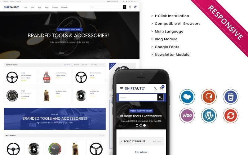 Shiftauto - The Autoparts Store Responsive WooCommerce Theme.