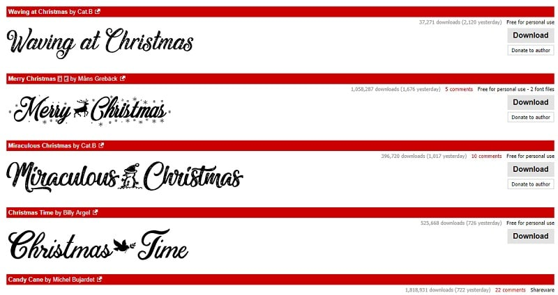 Christmas Fonts by Dafont