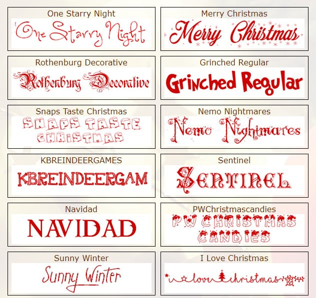 Christmas Fonts on The Holiday Spot