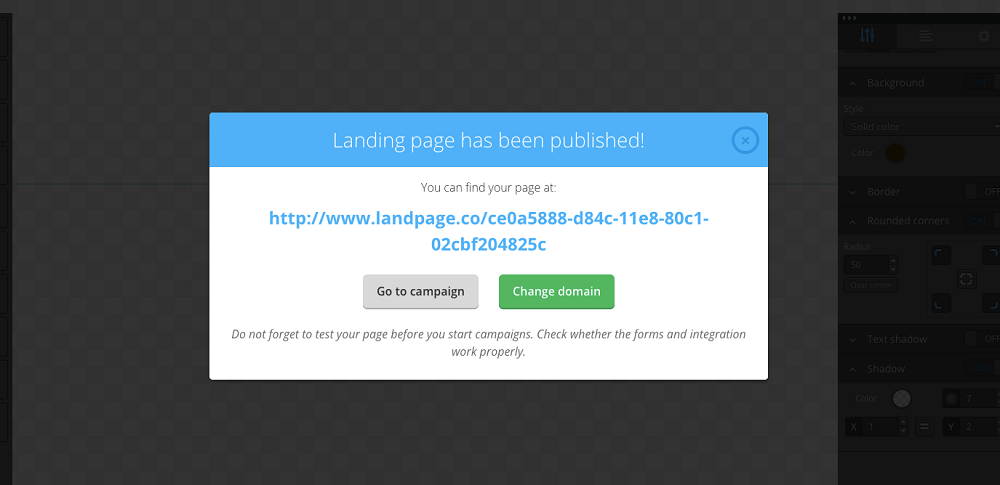 landing page published