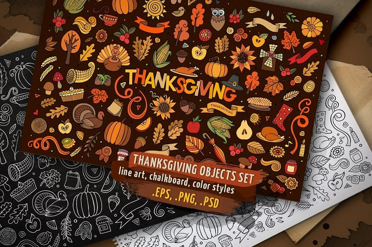 Thanksgiving Objects & Elements Set Vector