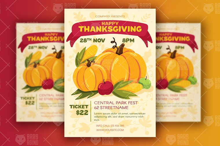 Thanksgiving Poster With Harvest Corporate Identity Template