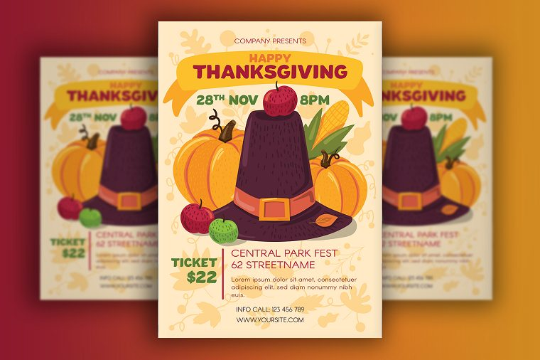 Thanksgiving Poster With Pilgrim Hat Corporate Identity Template