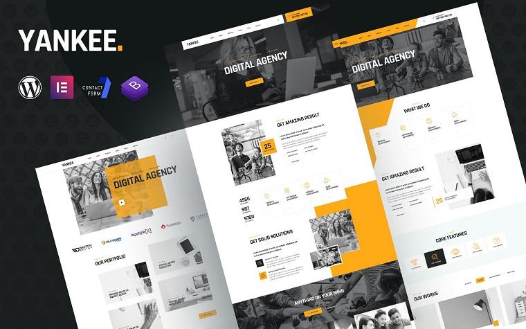 Yankee - Digital Agency Elementor WordPress Theme.