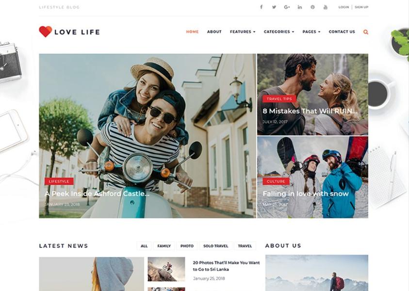 Love Life - Responsive Personal Blog WordPress Theme