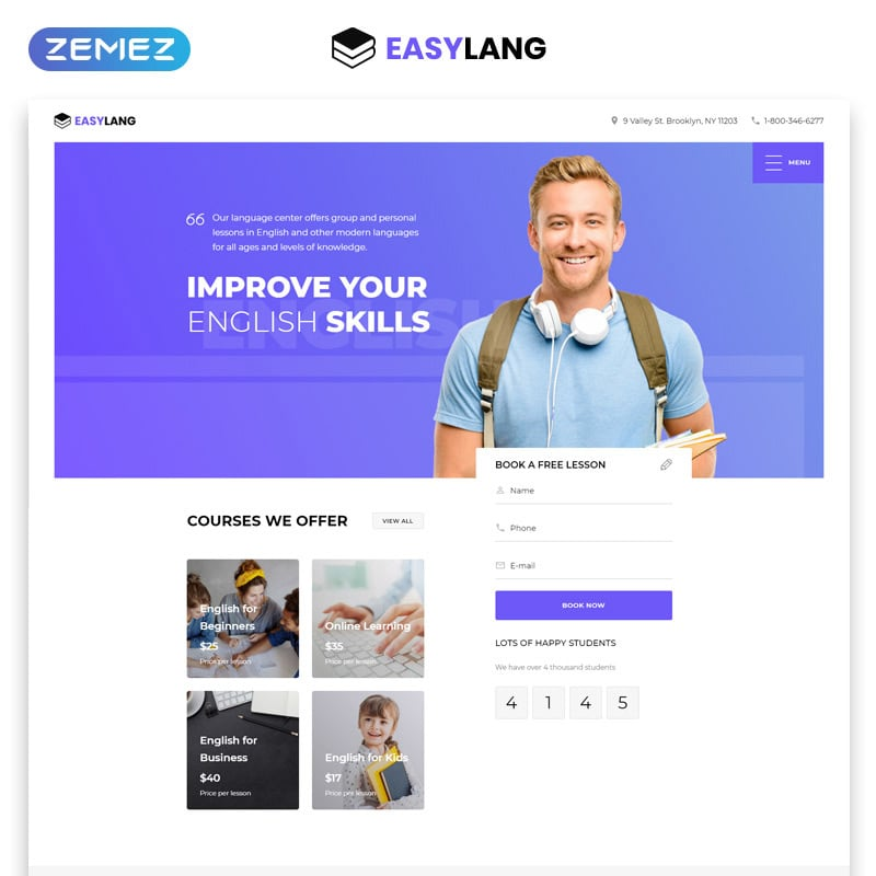 Language School One Page Landing Page Template