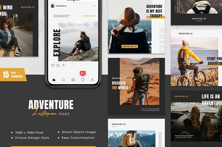 Adventure Instagram Post Social Media Template.