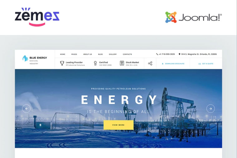Blue Energy - Industrial Company Ready-To-Use Joomla Template.