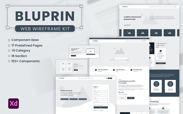 BLUPRIN - Adobe XD Wireframe Kit For Web UI Elements.