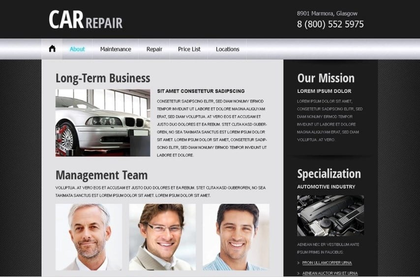 Free Website Template - Car/Auto Project Website Template