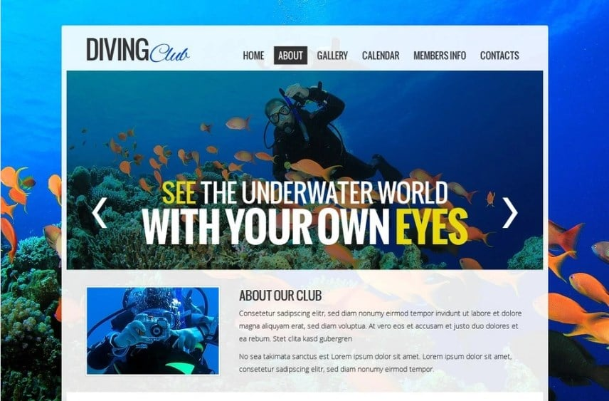 Free Website Template - Diving Club Website Template